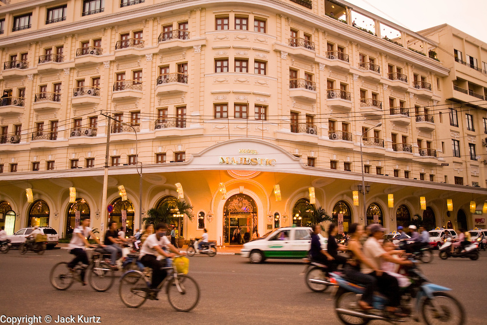 08 MARCH 2006 - HO CHI MINH CITY, VIETNAM: Traffic passes the Hotel Majestic, a 4 star tourist hotel near the Saigon River in Ho Chi Minh City, Vietnam. HCMC is still widely known as Saigon. PHOTO BY JACK KURTZ