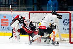 11.12.2015, Ice Rink, Znojmo, CZE, EBEL, HC Orli Znojmo vs Dornbirner Eishockey Club, 29. Runde, im Bild v.l. Nicolas Petrik (Dornbirner) Patrik Nechvatal (HC Orli Znojmo) // during the Erste Bank Icehockey League 29th round match between HC Orli Znojmo andDornbirner Eishockey Club at the Ice Rink in Znojmo, Czech Republic on 2015/12/11. EXPA Pictures © 2015, PhotoCredit: EXPA/ Rostislav Pfeffer