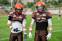 KELOWNA, BC - AUGUST 17:  Michael Guirestante #36 and Tyler GOING #20 of Okanagan Sun stand on the field during warm up against the Westshore Rebels  at the Apple Bowl on August 17, 2019 in Kelowna, Canada. (Photo by Marissa Baecker/Shoot the Breeze)