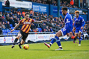 Bradford City midfielder Romain Vincelot (6) takes on Oldham Athletic forward Aaron Amadi-Holloway (10)  during the EFL Sky Bet League 1 match between Oldham Athletic and Bradford City at Boundary Park, Oldham, England on 28 January 2017. Photo by Simon Davies.