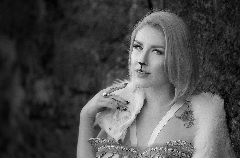 Black and White Fine art portrait of Serynne Evans as the Goblin Queen. Portrait shot on film with a Nikon S2 rangefinder by Kansas City art photographer Kirk Decker.