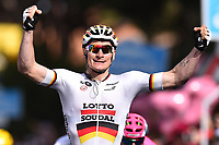 Arrival, Andre GREIPEL (Ger) Lotto, winner,during the Giro d'Italia 2015, Stage 6, La Spezia - Abetone (152 Km) on May 14, 2015. Photo Tim de Waele / DPPI