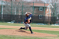 12 April 2014:   Seth Davis during an NCAA division 3 College Conference of Illinois and Wisconsin (CCIW) baseball game between the Augustana Vikings and the Illinois Wesleyan Titans at Jack Horenberger Stadium, Bloomington IL