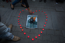 October 8, 2018 - Sofia, Bulgaria - People light candles during a vigil for murder victim Viktoria Marinova in Sofia, on Monday, Oct. 8, 2018. The near the Danube River in the city of Ruse. She has reported on the possible misuse of European Union funds in Bulgaria. (Credit Image: © Jodi Hilton/NurPhoto/ZUMA Press)