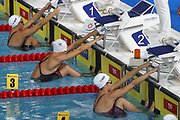 Beryl Gastaldello (France),Julie Kepp Jensen (Denmark) and Mathilde Cini (France) in the 6th Series of the 50 m Back during the Swimming European Championships Glasgow 2018, at Tollcross International Swimming Centre, in Glasgow, Great Britain, Day 3, on August 4, 2018 - Photo Laurent lairys / ProSportsImages / DPPI