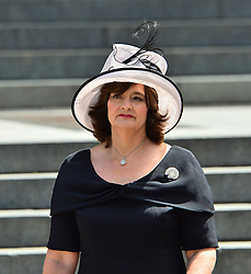 © Licensed to London News Pictures. 07/07/2015. London, UK. CHERIE BLAIR leaving the service. . A church service held at St Paul's Cathedral In London on the 10th anniversary of the 7/7 bombings in London which killed 52 civilians and injured over 700 more.  Photo credit: Ben Cawthra/LNP