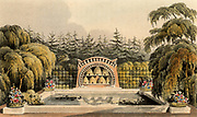 Design for garden with bee shelter with bee skeps and pool framed by trees including weeping willow (Salix babylonica). From 'Repository of Arts', R. Ackermann, (London, 1820).
