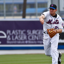 March 6, 2011; Port St. Lucie, FL, USA; New York Mets first baseman Daniel Murphy (28) during a spring training exhibition game against the Boston Red Sox at Digital Domain Park.  Mandatory Credit: Derick E. Hingle