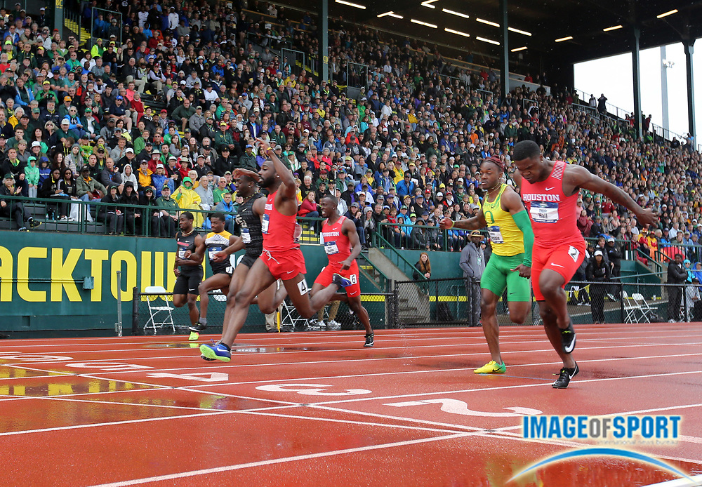 Jun 8, 2018; Eugene, OR, USA; Cameron Burrell and Elijah Hall of Houston place first and second in the 100m in 10.13 and 10.17 during the NCAA Track and Field championships at Hayward Field.