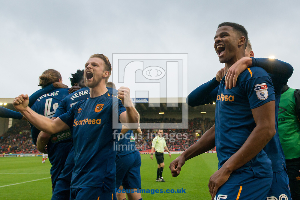 Fraizer Campbell of Hull City (right) celebrates scoring during the Sky Bet Championship match at Oakwell, Barnsley<br /> Picture by Matt Wilkinson/Focus Images Ltd 07814 960751<br /> 21/10/2017