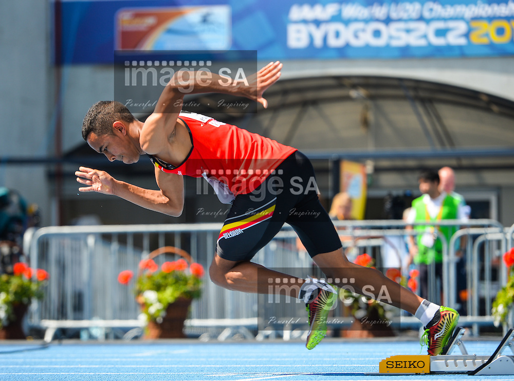 BYDGOSZCZ, POLAND - JULY 21: Dylan Owusu of Belgium gets out of the blocks at the start of the mens 400m hurdle heats during day 3 of the IAAF World Junior Championships at Zawisza Stadium on July 21, 2016 in Bydgoszcz, Poland. (Photo by Roger Sedres/Gallo Images)