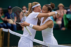 LONDON, ENGLAND - Wednesday, July 3, 2019: Maria Sakkari (GRC) (R) embraces Marie Bouzkova (CZE) after winning her Ladies' Singles second round match on Day Three of The Championships Wimbledon 2019 at the All England Lawn Tennis and Croquet Club. (Pic by Kirsten Holst/Propaganda)