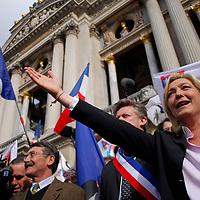 fete  de  Jeanne d'arc, le premier mai 2008 ,Marine Lepen, Jean Marie Lepen, Bruno Gollnisch et le Front National(FN) assistent au rassemblement de l'extreme droite française