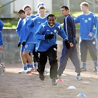 St Johnstone Training...02.02.07<br />Jason Scotland outpaces Martin Hardie in training this morning before facing Falkirk in tomorrow's Scottish Cup tie<br />see story by Gordon Bannerman Tel: 01738 553978 or 07729 865788<br />Picture by Graeme Hart.<br />Copyright Perthshire Picture Agency<br />Tel: 01738 623350  Mobile: 07990 594431