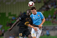 MELBOURNE, VIC - JANUARY 22: Western Sydney Wanderers forward Abraham Majok (49) competes for the header at the Hyundai A-League Round 15 soccer match between Melbourne City FC and Western Sydney Wanderers at AAMI Park in VIC, Australia 22 January 2019. Image by (Speed Media/Icon Sportswire)