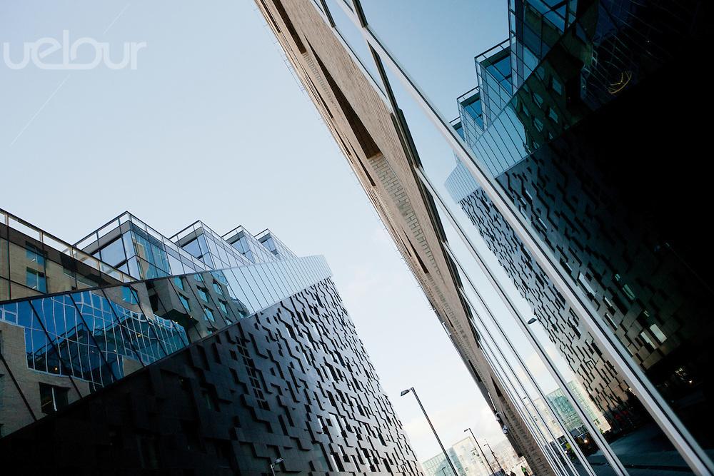 Fasade av DNB bygning A og C av Dark arkitekter, Bjørvika