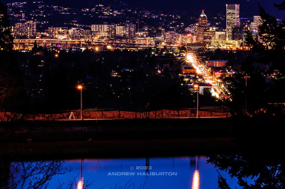 Downtown Portland nightscape from Mount Tabor Park, Portland, Oregon USA.
