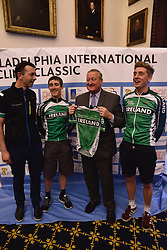 Kicking off the 2016 Philadelphia International Cycling Classic bike race weekend Mayor JIM KENNEY meets athletes of the Irish National pro-cycling team at a June 3rd, 2016 press conference at CityHall, Philadelphia Pennsylvania. Pro-cyclist will compete at a 73.8miles/118.7km course for the UCI Women's World Tour and 110.7miles/178.2km for the UCI 1.1 Men's America Tour during the Philadelphia Cycling Classic on Sunday June 5th, 2016.