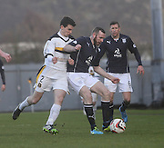 Craig Beattie holds off Paul McGinn - Dumbarton v Dundee  - SPFL Championship at the Bet Butler Stadium<br /> <br />  - &copy; David Young - www.davidyoungphoto.co.uk - email: davidyoungphoto@gmail.com