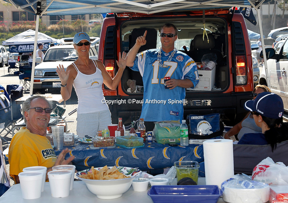 San Diego Chargers fans tailgate before a NFL week 2 preseason football game against the Dallas Cowboys on Saturday, August 21, 2010 in San Diego, California. The Cowboys won the game 16-14. (©Paul Anthony Spinelli)