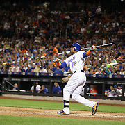 Yoenis Cespedes, New York Mets, hits a pitch foul before striking out in the 6th inning during the New York Mets Vs Washington Nationals. MLB regular season baseball game at Citi Field, Queens, New York. USA. 1st August 2015. (Tim Clayton for New York Daily News)