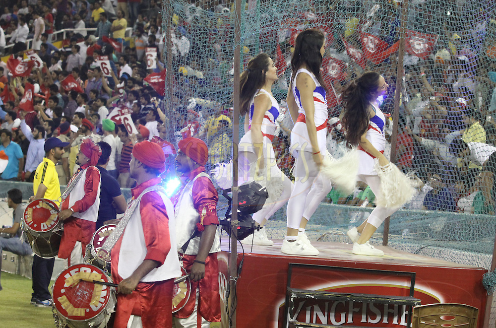 Kings XI Punjab cheeleaders and and punjabi artist during match 48 of the Pepsi Indian Premier League Season 2014 between the Kings XI Punjab and the Mumbai Indians held at the Punjab Cricket Association Stadium, Mohali, India on the 21st May  2014<br /> <br /> Photo by Arjun Panwar / IPL / SPORTZPICS<br /> <br /> <br /> <br /> Image use subject to terms and conditions which can be found here:  http://sportzpics.photoshelter.com/gallery/Pepsi-IPL-Image-terms-and-conditions/G00004VW1IVJ.gB0/C0000TScjhBM6ikg