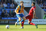 Nathaniel mendez-Laing commits a foul during the EFL Sky Bet League 1 match between Shrewsbury Town and Rochdale at Greenhous Meadow, Shrewsbury, England on 8 April 2017. Photo by Daniel Youngs.