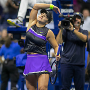 2019 US Open Tennis Tournament- Day Eleven.  Bianca Andreescu of Canada celebrates her victory against Belinda Bencic of Switzerland in the Women's Singles Semi-Finals match on Arthur Ashe Stadium during the 2019 US Open Tennis Tournament at the USTA Billie Jean King National Tennis Center on September 5th, 2019 in Flushing, Queens, New York City.  (Photo by Tim Clayton/Corbis via Getty Images)