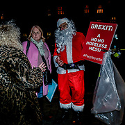 "A Protestors wearing a Santa dress to show solidarity! ""Vote down May's deal"" at Parliament Yard , on 11 December 2018, London, UK."