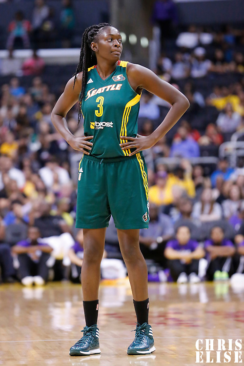 15 August 2014: Seattle Storm center Waltiea Rolle (3) rests during the Los Angeles Sparks 77-65 victory over the Seattle Storm, at the Staples Center, Los Angeles, California, USA.