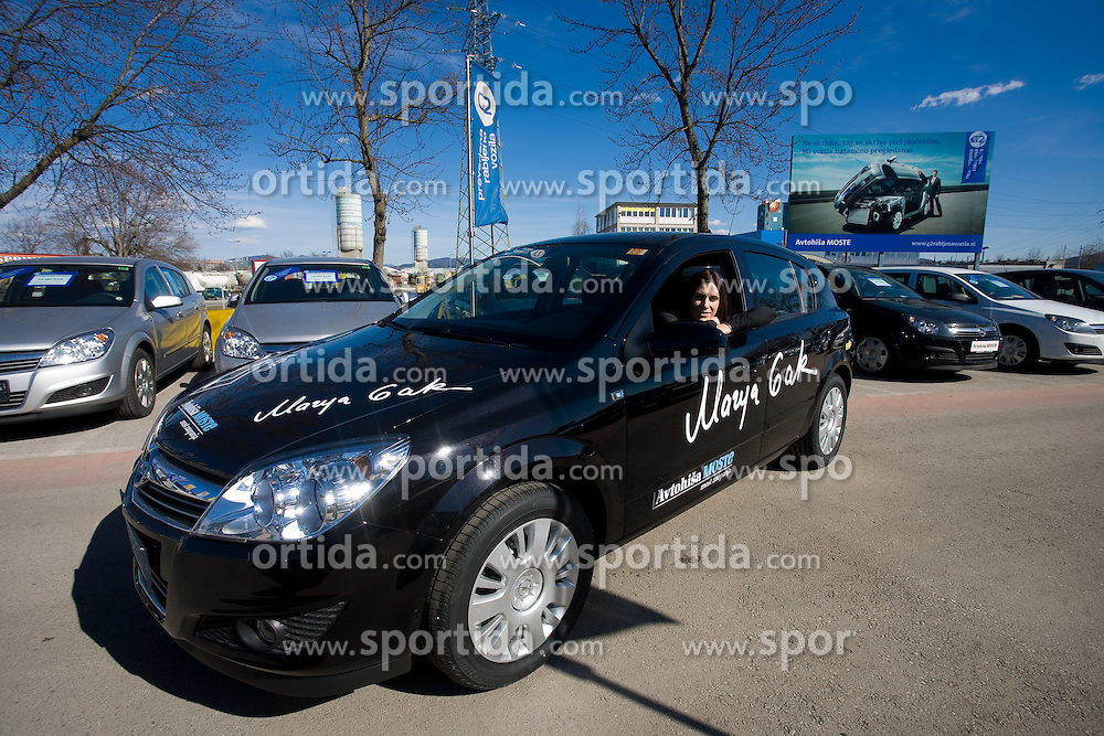 Slovenian triple jumper Marija Sestak sponsored with a car Opel Astra by Avtohisa Moste, Ljubljana, Slovenia. (Photo by Vid Ponikvar / Sportida)