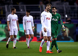 Tottenham Hotspur goalkeeper Hugo Lloris (right) and Fernando Llorente after the final whistle