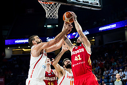 Marc Gasol of Spain and Pierre Oriola of Spain vs Nikita Kurbanov of Russia during basketball match between National Teams  Spain and Russia at Day 18 in 3rd place match of the FIBA EuroBasket 2017 at Sinan Erdem Dome in Istanbul, Turkey on September 17, 2017. Photo by Vid Ponikvar / Sportida