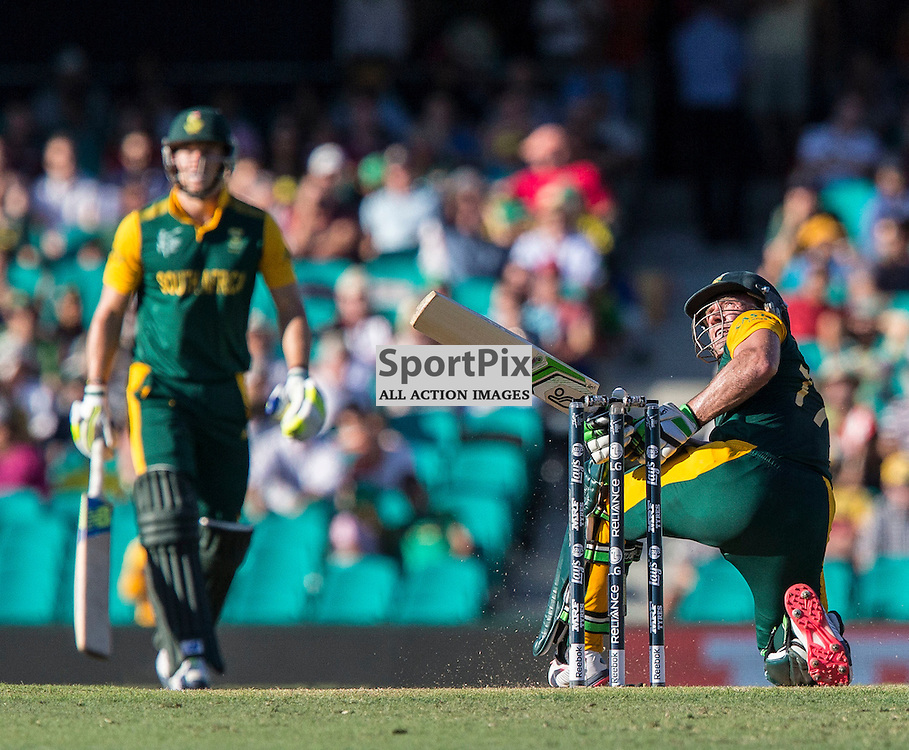 ICC Cricket World Cup 2015 Tournament Match, South Africa v West Indies, Sydney Cricket Ground; 27th February 2015<br /> Another boundary bound shot from South Africa&rsquo;s AB De Villiers