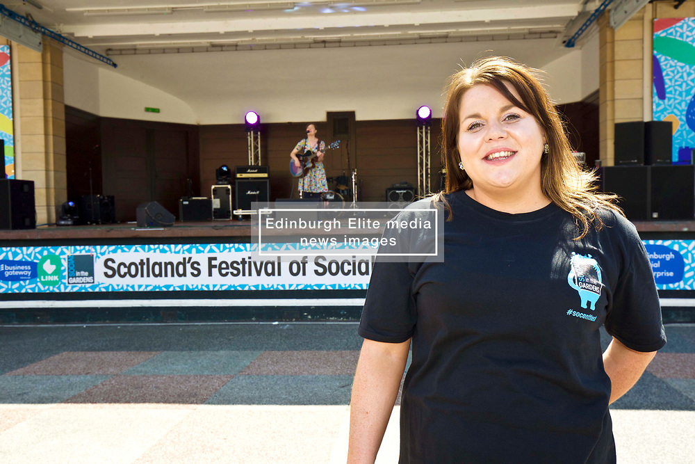 Former Britain's Got Talent contestant Anna Devitt from Glasgow hosted Social in the Gardens, a two-day open air festival in Princes Street Gardens, Edinburgh. Pic copyright Terry Murden @edinburghelitemedia