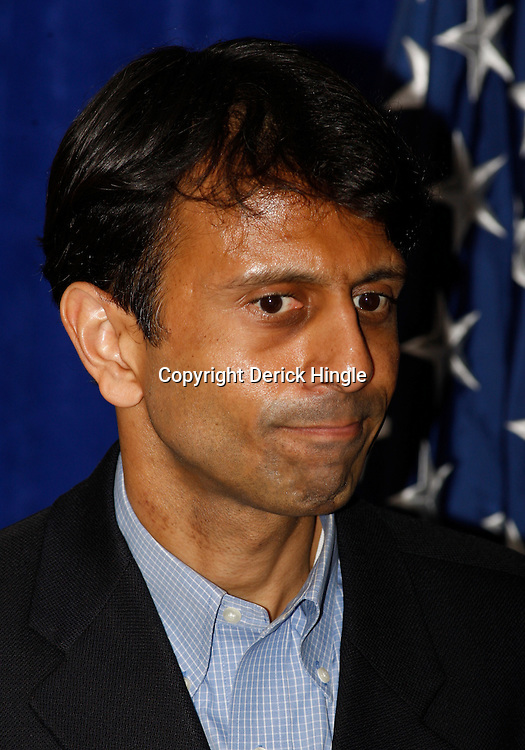 Louisiana Governor Bobby Jindal listens during a press conference regarding cleanup and containment efforts for the BP Plc Deepwater Horizon drilling rig oil spill in Robert, Louisiana, U.S., on Friday, April 30, 2010. Photographer: Derick E. Hingle