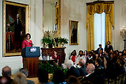 Oct 20, 2010 - Washington, District of Columbia, U.S. - First Lady MICHELLE OBAMA, the honorary chair of the President's Committee on the Arts and the Humanities hosted the PCAH's National Arts and Humanities Youth Program Awards at the White House on Wednesday.  The awards focus national attention on exemplary programs currently fostering the creative and intellectual development of America's children and youth through education, and practical experience in the arts and the humanities.  (Credit Image: © Pete Marovich/ZUMA Press)