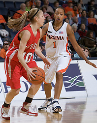 Davidson guard Alexandra Thompson (10) is defended by Virginia forward Lyndra Littles (1).  The Virginia Cavaliers women's basketball team defeated the Davidson Wildcats 83-68 at the John Paul Jones Arena in Charlottesville, VA on December 20, 2007.