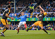 Portsmouth defender Adam Webster scores the 2nd goal during the Sky Bet League 2 match between Portsmouth and Cambridge United at Fratton Park, Portsmouth, England on 27 February 2016. Photo by Adam Rivers.