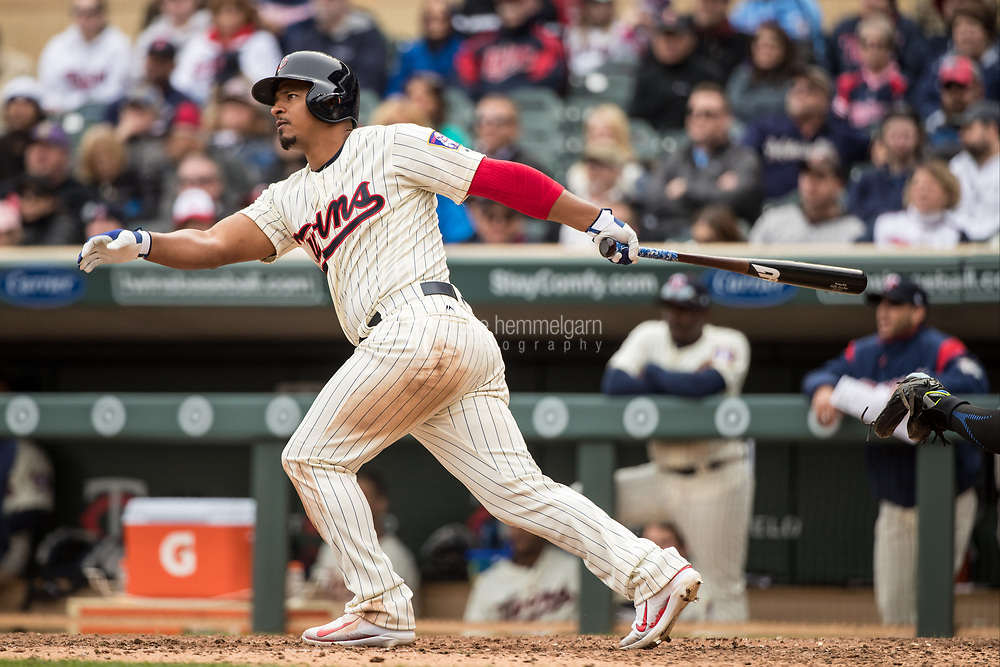 MINNEAPOLIS, MN- APRIL 5: Eduardo Escobar #5 of the Minnesota Twins bats and hits a home run against the Kansas City Royals on April 5, 2017 at Target Field in Minneapolis, Minnesota. The Twins defeated the Royals 9-1. (Photo by Brace Hemmelgarn) *** Local Caption *** Eduardo Escobar
