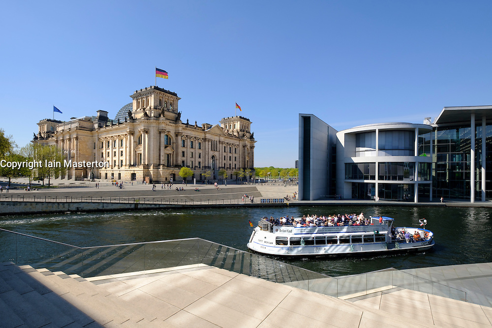 View of the Reichstag Parliament building beside Spree River in Berlin Germany
