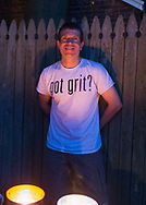 "Merrick, New York, USA. 11th June 2017.  Contestant CHRIS EDOM (wearing white ""GOT GRIT?"" T-shirt), 48, of Merrick, hosts Viewing Party for ""American Grit"" Season 2 premiere, a show stressing teamwork. Edom family's neighbors watched Episode 1 of the Fox network TV show in their backyard. Edom was last contestant picked for a team."