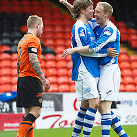 Dundee United v St Johnstone.....04.05.13      SPL<br /> Murray Davidson and Steven Anderson celebrate at full time<br /> Picture by Graeme Hart.<br /> Copyright Perthshire Picture Agency<br /> Tel: 01738 623350  Mobile: 07990 594431