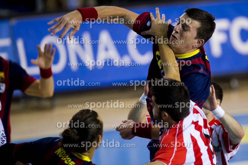 09.11.2013, Palau Blaugrana, Barcelona, ESP, Liga ASOBAL, FC Barcelona vs Frigorificos Morrazo, 9. Runde, im Bild FC Barcelona's Siarhei Rutenka // FC Barcelona's Siarhei Rutenka during the spanish Handball league ASOBAL 9th round match between FC Barcelona and Frigor&iacute;ficos at the Palau Blaugrana in Barcelona, Spain on 2013/11/10. EXPA Pictures &copy; 2013, PhotoCredit: EXPA/ Alterphotos/ Alex Caparros<br /> <br /> *****ATTENTION - OUT of ESP, SUI*****