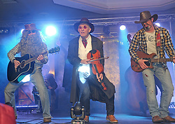 Colm McLoughlin, Joe Ring and Darren Cawley performing as the Charlie Daniels Band at Westport United&rsquo;s &lsquo;Stars in their Eyes&rsquo; on friday night last.<br /> Pic Conor McKeown