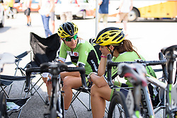 Keeping out of the searing heat until the last possible moment - Doris Schweizer and Sheyla Gutierrez at Giro Rosa 2016 - Stage 1. A 104 km road race from Gaiarine to San Fior, Italy on July 2nd 2016.