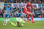 John O'Sullivan (Carlisle United) is beaten to the ball by Joe Fryer (Hartlepool United) who makes the save during the EFL Sky Bet League 2 match between Hartlepool United and Carlisle United at Victoria Park, Hartlepool, England on 14 April 2017. Photo by Mark P Doherty.