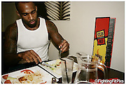 Jimi 'Poster-Boy' Manuwa.End of Day, Meal after final training session. at the Steak.Out Restuarant.Weds 21-7-2010..