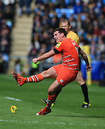 Freddie Burns of Leicester Tigers kicks a conversion during the Aviva Premiership match at the Ricoh Arena, Coventry<br /> Picture by Michael Whitefoot/Focus Images Ltd 07969 898192<br /> 09/05/2015