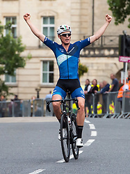 © Licensed to London News Pictures.  19/08/2017; Bristol, UK. Bristol Cycling Grand Prix 2017 takes place on a course through roads in the city centre. Picture of RORY TOWNSEND winning the race way out in front of the other competitors on his way to winning the Mens Elite race, with Fred Scheske in 2nd place and Joshua Price in 3rd. Picture credit : Simon Chapman/LNP